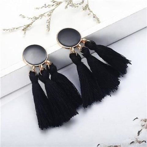 Image of Colorful Tassel Round Drop Earrings - C - Custom Made | Free Shipping
