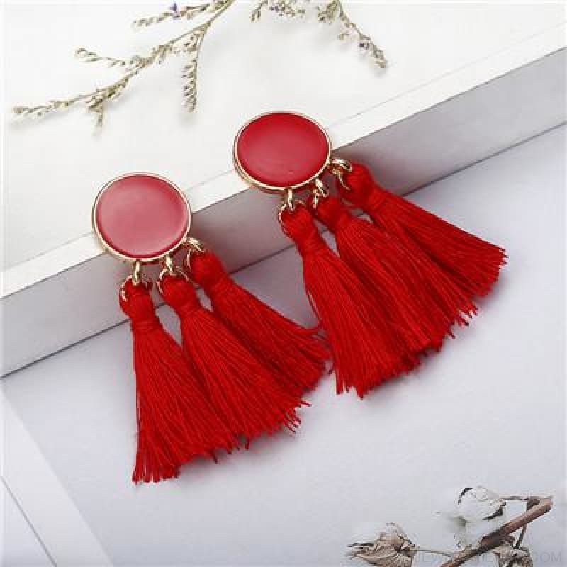 Colorful Tassel Round Drop Earrings - D - Custom Made | Free Shipping