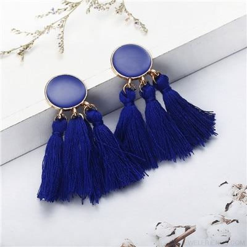 Colorful Tassel Round Drop Earrings - E - Custom Made | Free Shipping
