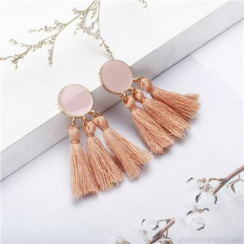 Colorful Tassel Round Drop Earrings - F - Custom Made | Free Shipping