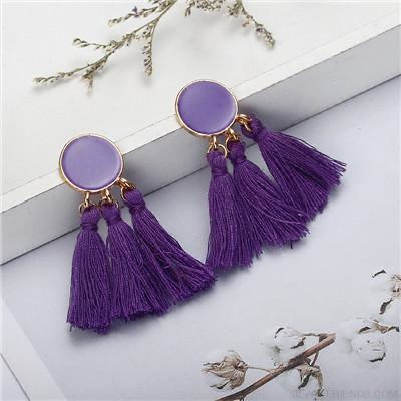 Colorful Tassel Round Drop Earrings - H - Custom Made | Free Shipping