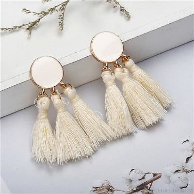 Colorful Tassel Round Drop Earrings - I - Custom Made | Free Shipping