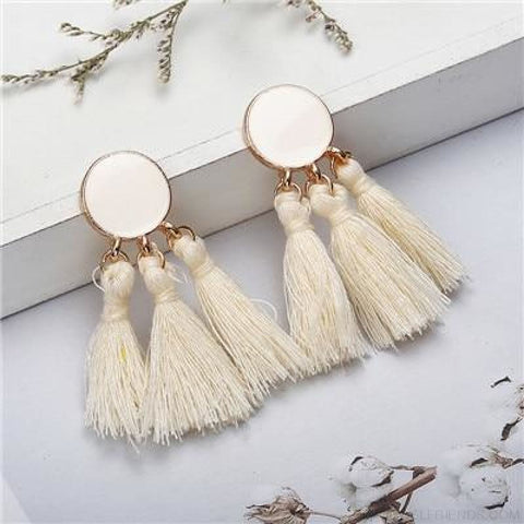 Image of Colorful Tassel Round Drop Earrings - I - Custom Made | Free Shipping
