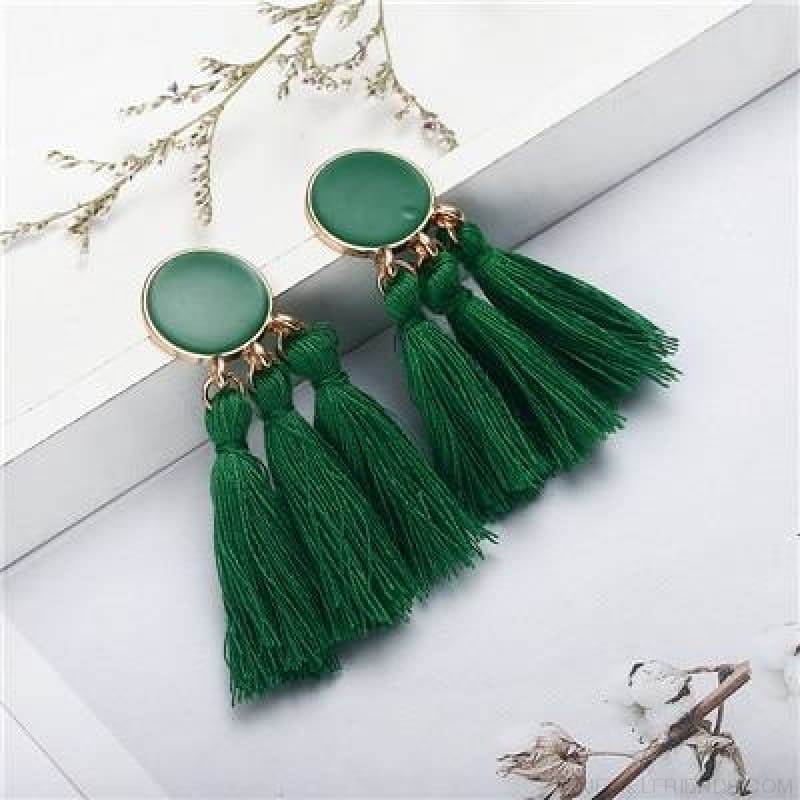 Colorful Tassel Round Drop Earrings - J - Custom Made | Free Shipping