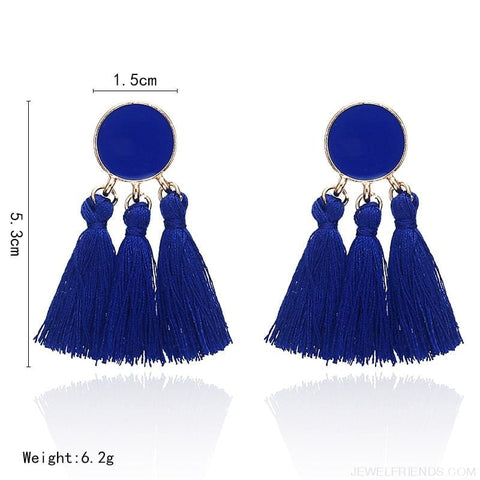 Image of Colorful Tassel Round Drop Earrings - Custom Made | Free Shipping
