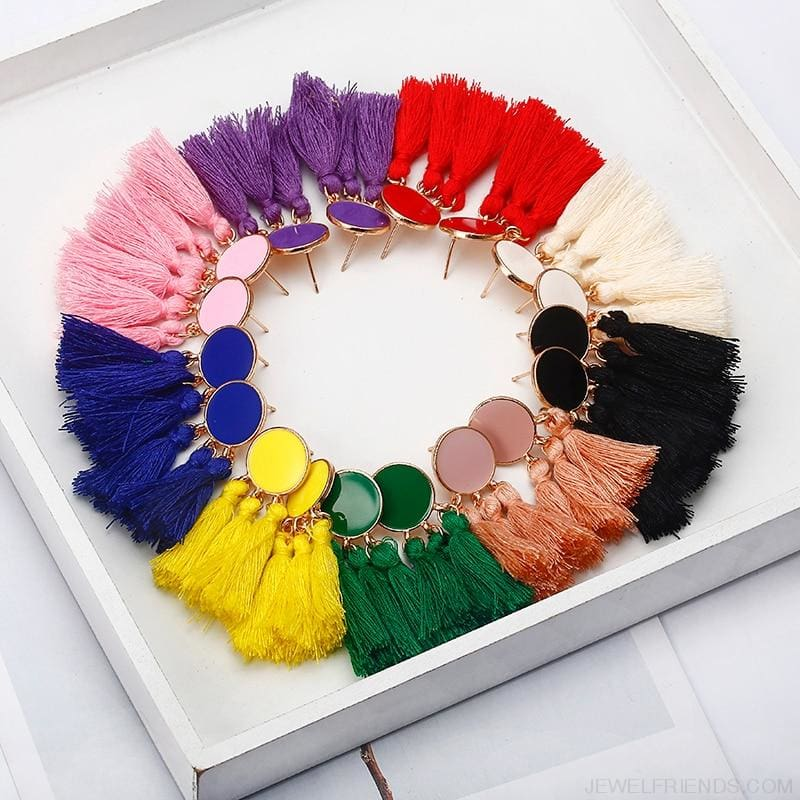 Colorful Tassel Round Drop Earrings - Custom Made | Free Shipping