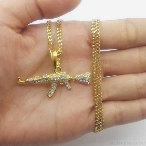 Cool Ak47 Gun Pendant Necklace - Cuban Chain Gold - Custom Made | Free Shipping