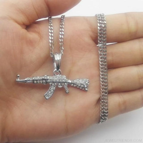Image of Cool Ak47 Gun Pendant Necklace - Cuban Chain Silver - Custom Made | Free Shipping