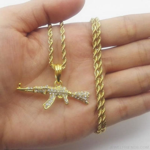 Image of Cool Ak47 Gun Pendant Necklace - Rope Chain Gold - Custom Made | Free Shipping