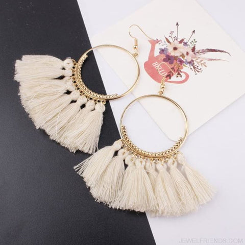 Cotton Rope Fringe Circle Big Tassel Earring - Beige - Custom Made | Free Shipping