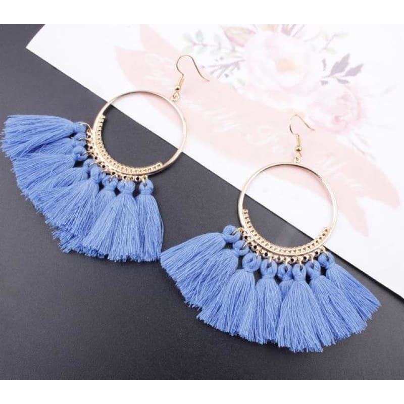 Cotton Rope Fringe Circle Big Tassel Earring - Blue - Custom Made | Free Shipping