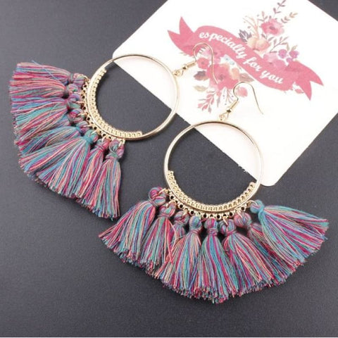 Cotton Rope Fringe Circle Big Tassel Earring - Bluecolor - Custom Made | Free Shipping