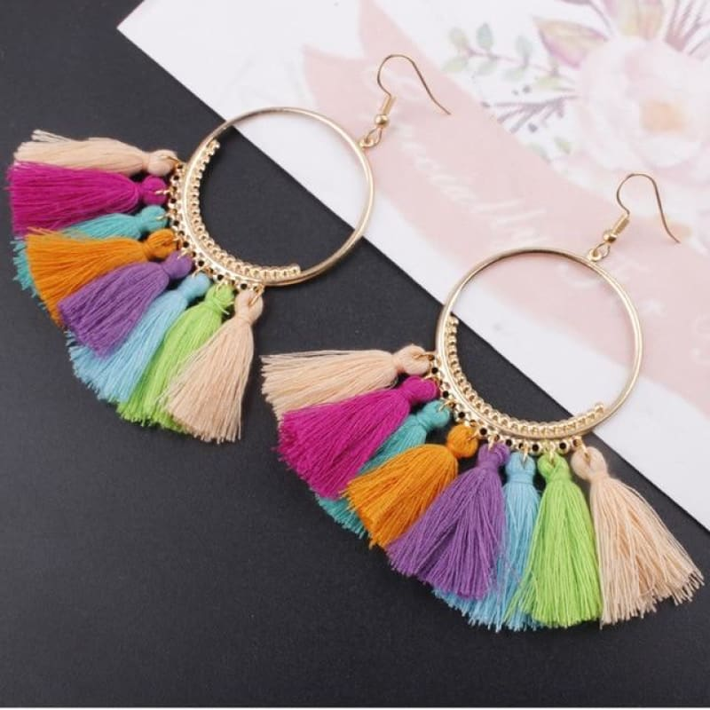 Cotton Rope Fringe Circle Big Tassel Earring - Colorful - Custom Made | Free Shipping