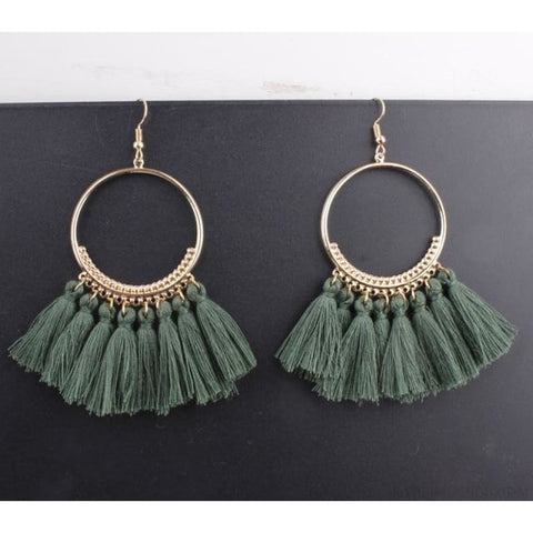 Cotton Rope Fringe Circle Big Tassel Earring - Green - Custom Made | Free Shipping