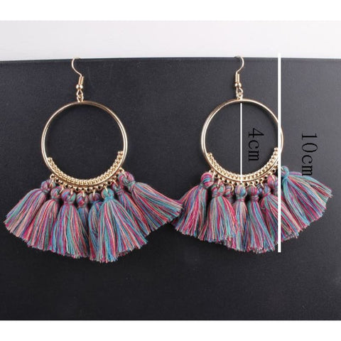 Image of Cotton Rope Fringe Circle Big Tassel Earring - Custom Made | Free Shipping