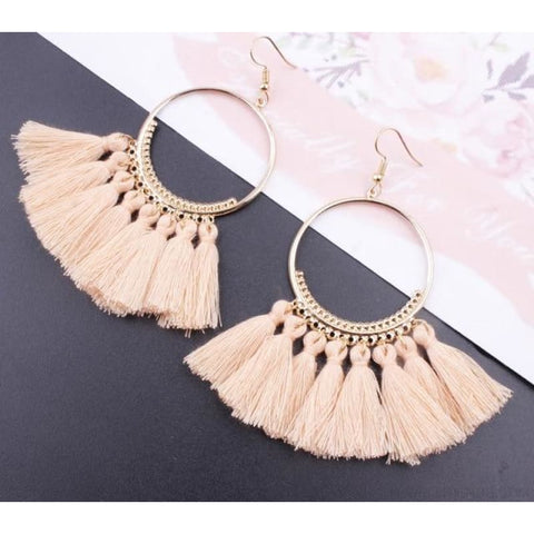 Cotton Rope Fringe Circle Big Tassel Earring - Light Pink - Custom Made | Free Shipping
