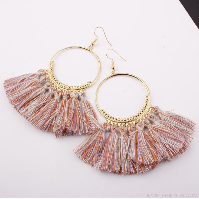 Cotton Rope Fringe Circle Big Tassel Earring - Lightcolor - Custom Made | Free Shipping