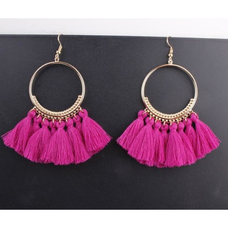 Cotton Rope Fringe Circle Big Tassel Earring - Purple - Custom Made | Free Shipping