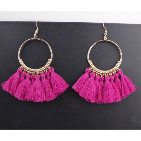 Image of Cotton Rope Fringe Circle Big Tassel Earring - Purple - Custom Made | Free Shipping