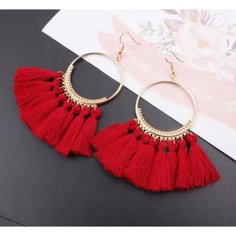 Cotton Rope Fringe Circle Big Tassel Earring - Red - Custom Made | Free Shipping