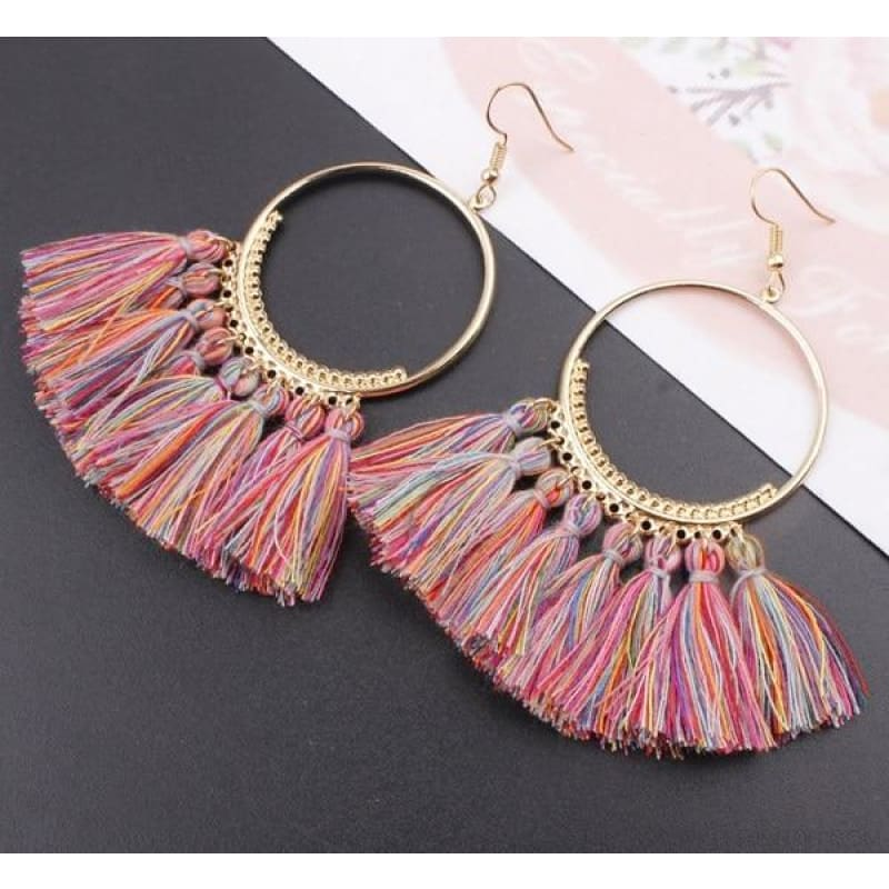 Cotton Rope Fringe Circle Big Tassel Earring - Redcolor - Custom Made | Free Shipping