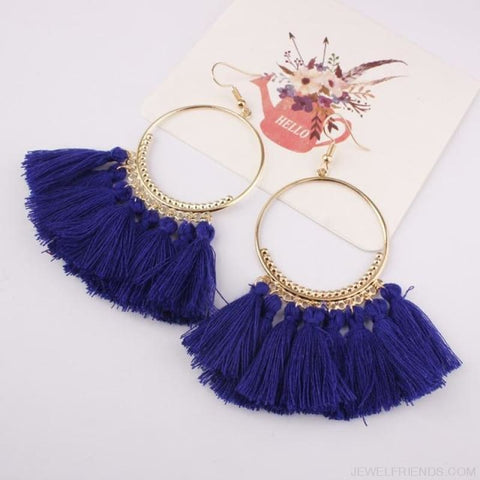 Cotton Rope Fringe Circle Big Tassel Earring - Royalblue - Custom Made | Free Shipping