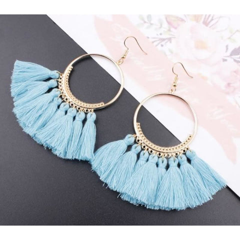 Cotton Rope Fringe Circle Big Tassel Earring - Skyblue - Custom Made | Free Shipping