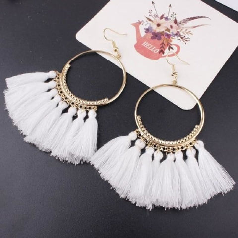 Cotton Rope Fringe Circle Big Tassel Earring - White - Custom Made | Free Shipping