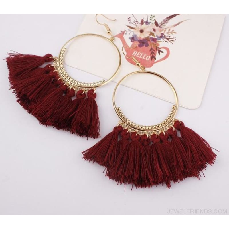 Cotton Rope Fringe Circle Big Tassel Earring - Winered - Custom Made | Free Shipping