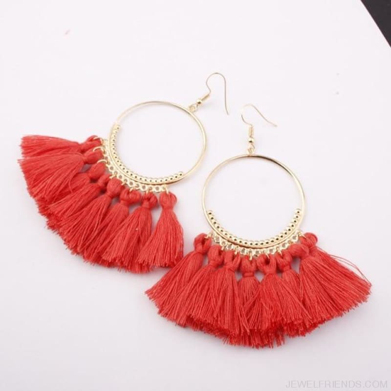 Cotton Rope Fringe Circle Big Tassel Earring - Xiguahong - Custom Made | Free Shipping