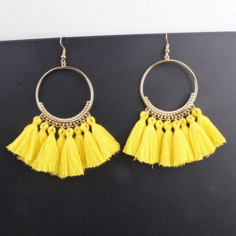 Cotton Rope Fringe Circle Big Tassel Earring - Yellow - Custom Made | Free Shipping