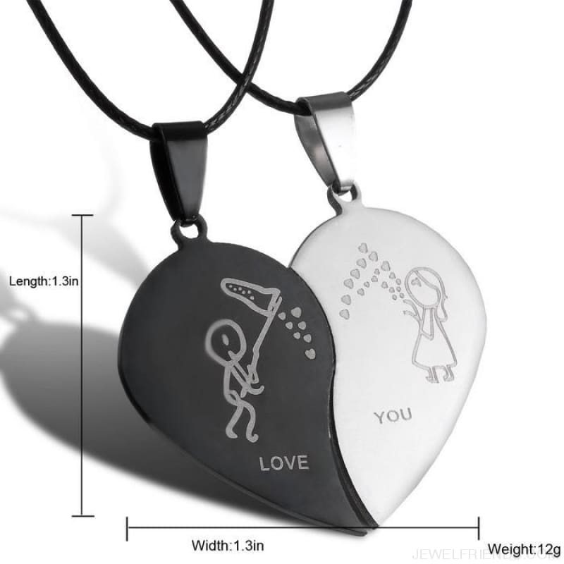 Couples Yin Yang Engrave Love You Heart Necklaces - Custom Made | Free Shipping