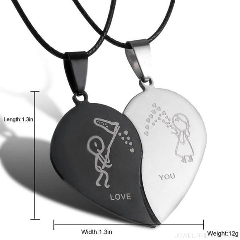 Image of Couples Yin Yang Engrave Love You Heart Necklaces - Custom Made | Free Shipping
