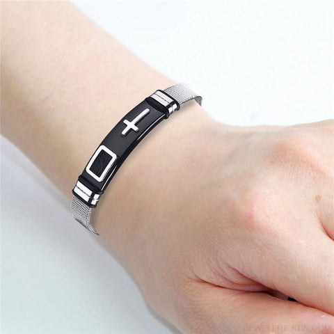 Cross Bracelets Stainless Steel Bracelets Bangles Silver & Black - Custom Made | Free Shipping