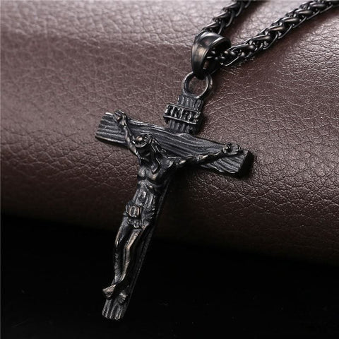 Image of Cross Jesus Pendant Necklace Link Chain - Custom Made | Free Shipping