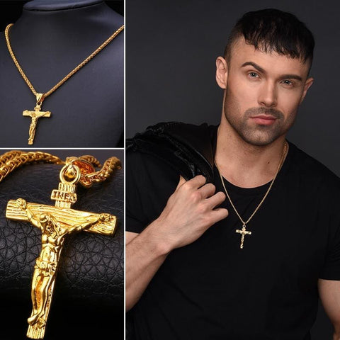 Cross Jesus Pendant Necklace Link Chain - Custom Made | Free Shipping