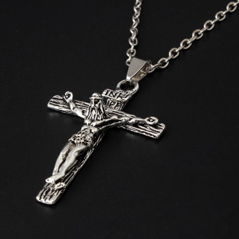 Cross Jesus Pendant Necklace Simple Chain - Custom Made | Free Shipping