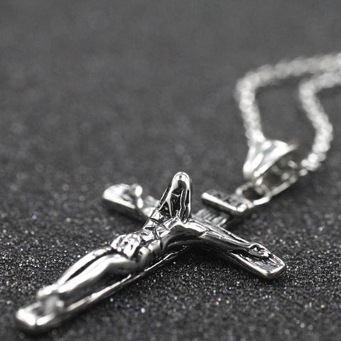 Image of Cross Jesus Pendant Necklace Simple Chain - Custom Made | Free Shipping