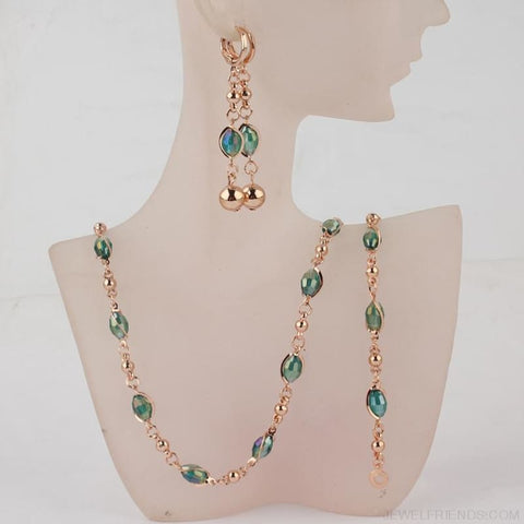 Crystal African Beads Jewelry Sets Gold Color - Custom Made | Free Shipping