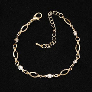 Crystal Charm Gold Color Link Chain Bracelet