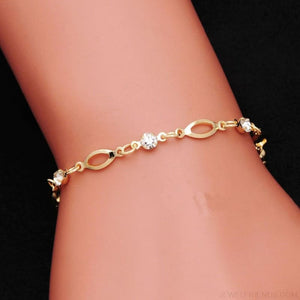 Crystal Charm Gold Color Link Chain Bracelet - Custom Made | Free Shipping