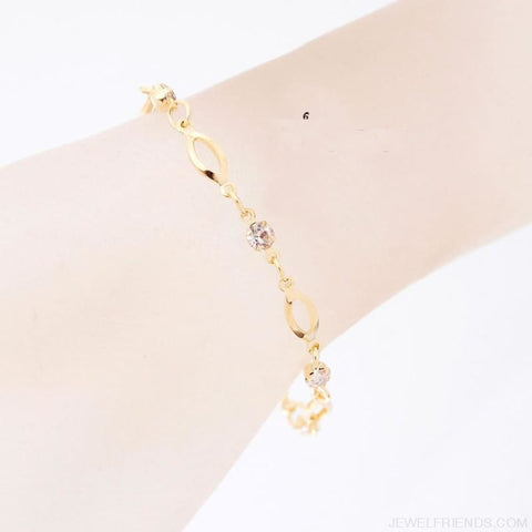 Image of Crystal Charm Gold Color Link Chain Bracelet - Custom Made | Free Shipping