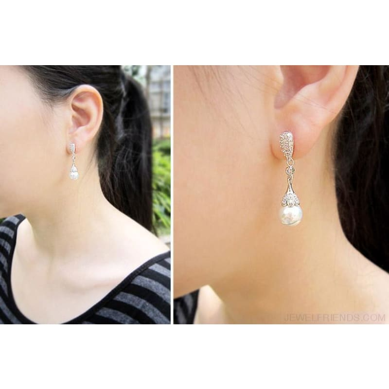 Crystal Long Teardrop Bridal 925 Sterling Silver Earrings - Custom Made | Free Shipping