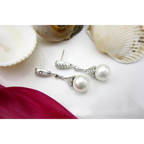 Image of Crystal Long Teardrop Bridal 925 Sterling Silver Earrings - Custom Made | Free Shipping