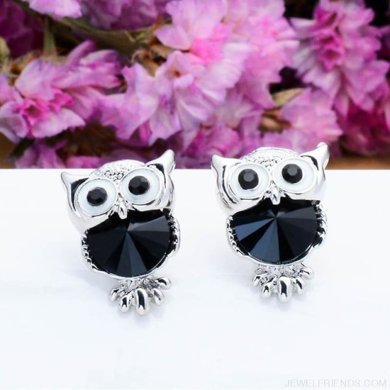 Crystal Owl Stud Earrings - 01 - Custom Made | Free Shipping