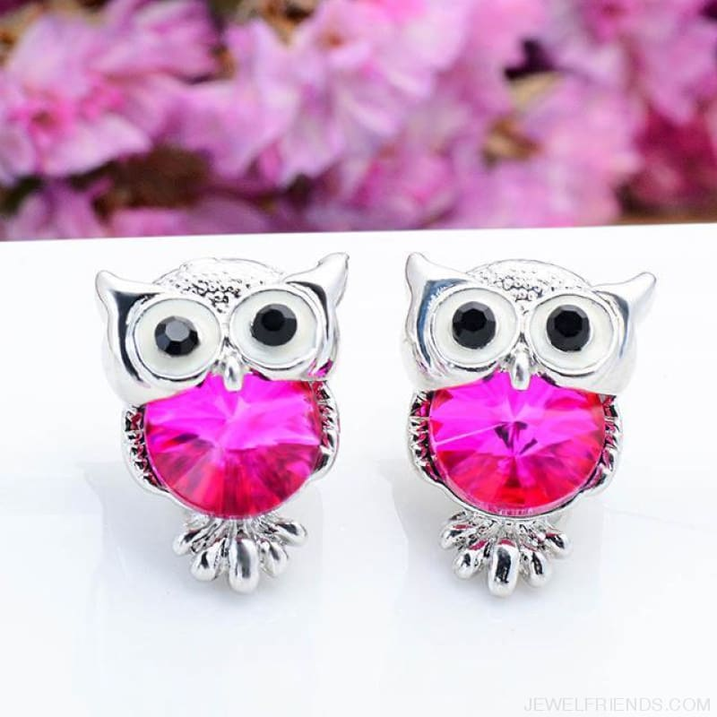 Crystal Owl Stud Earrings - 02 - Custom Made | Free Shipping