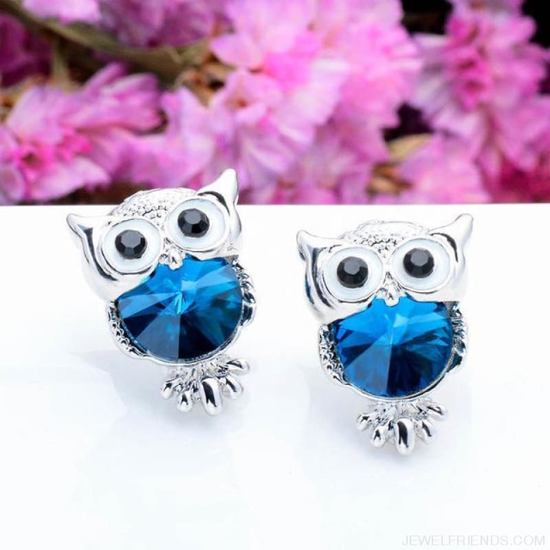Crystal Owl Stud Earrings - 03 - Custom Made | Free Shipping