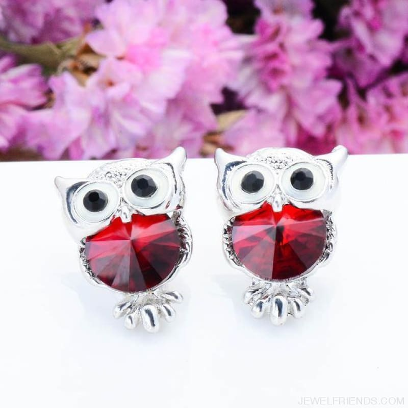 Crystal Owl Stud Earrings - 04 - Custom Made | Free Shipping