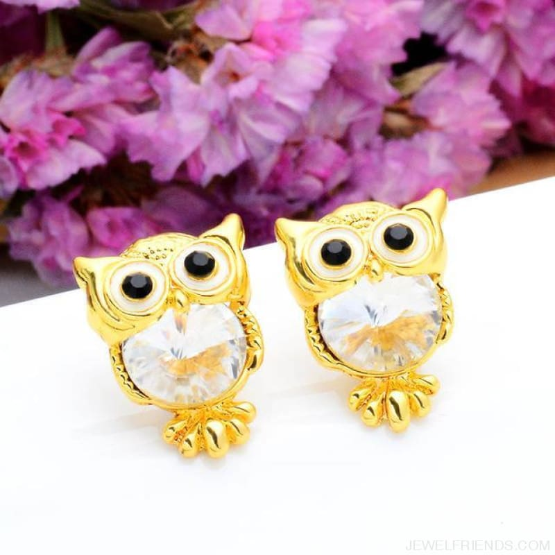 Crystal Owl Stud Earrings - 05 - Custom Made | Free Shipping