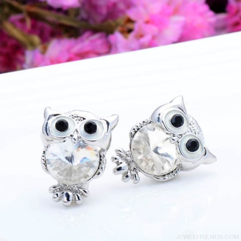 Crystal Owl Stud Earrings - 06 - Custom Made | Free Shipping